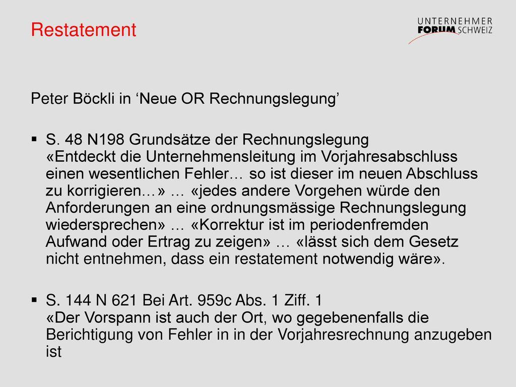 Restatement Peter Böckli in 'Neue OR Rechnungslegung'