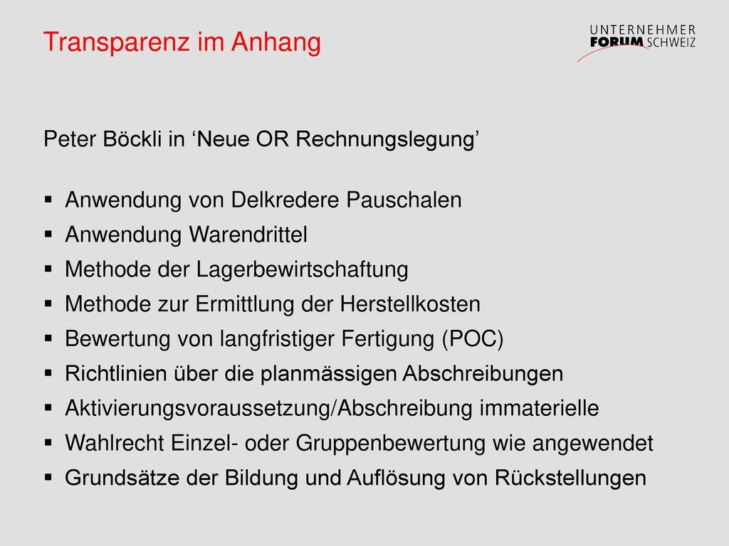 Transparenz im Anhang Peter Böckli in 'Neue OR Rechnungslegung'