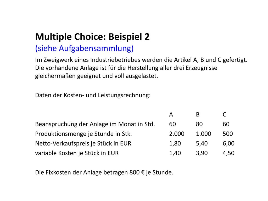 Multiple Choice: Beispiel 2