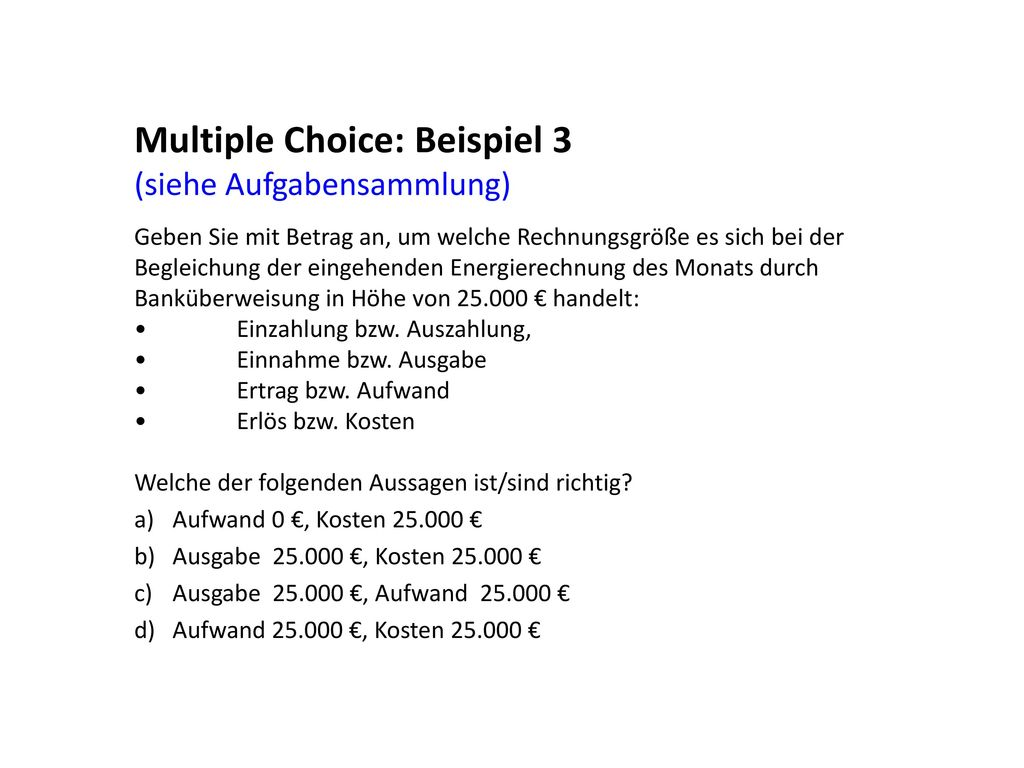 Multiple Choice: Beispiel 3