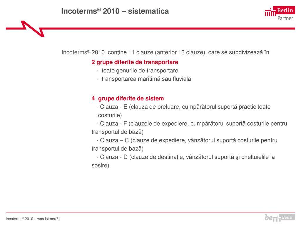 Incoterms® 2010 – sistematica
