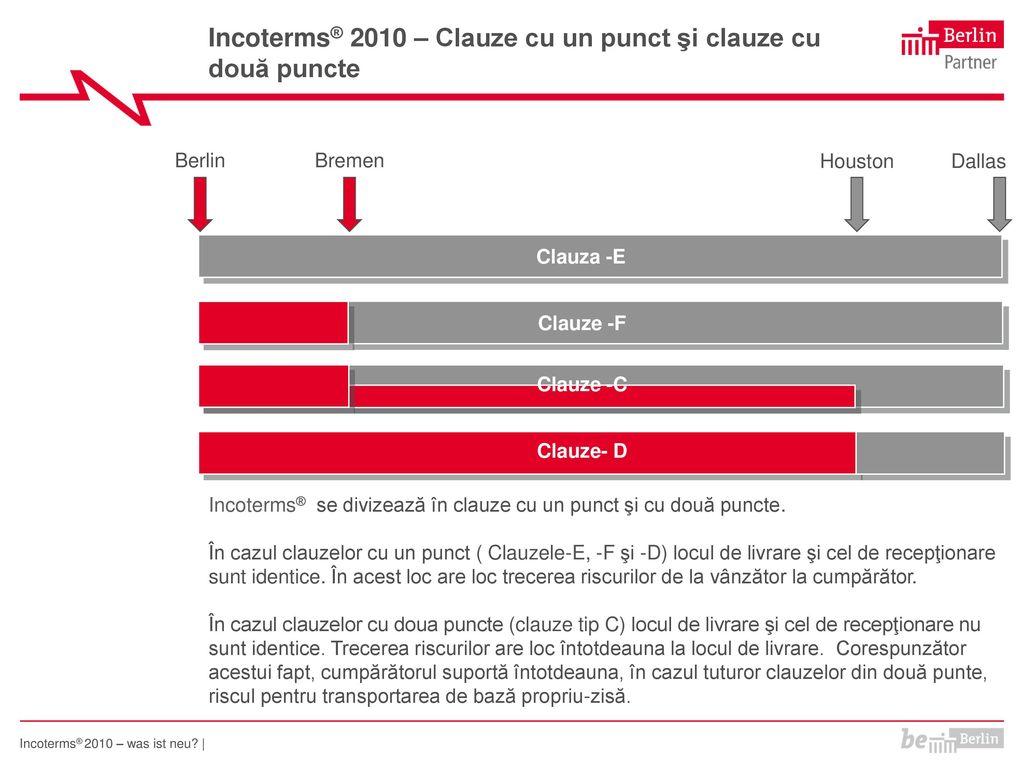 Incoterms® 2010 – Clauze cu un punct şi clauze cu două puncte