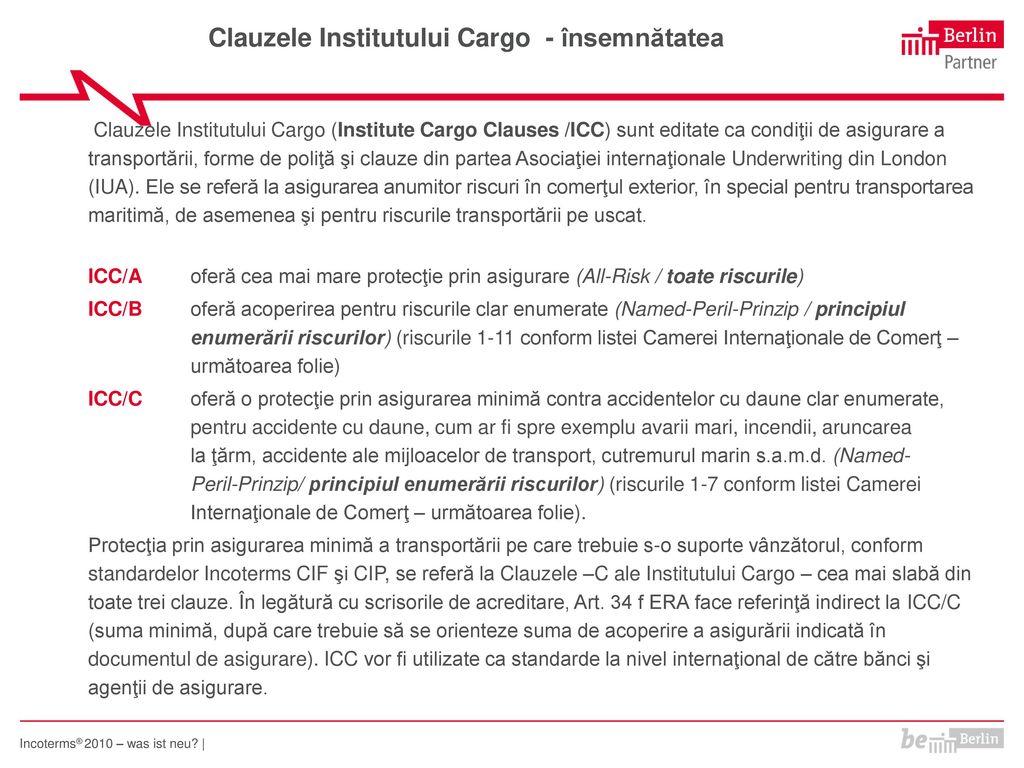 Clauzele Institutului Cargo - însemnătatea