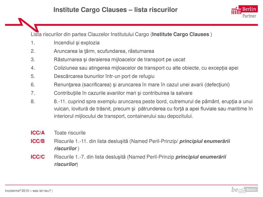 Institute Cargo Clauses – lista riscurilor