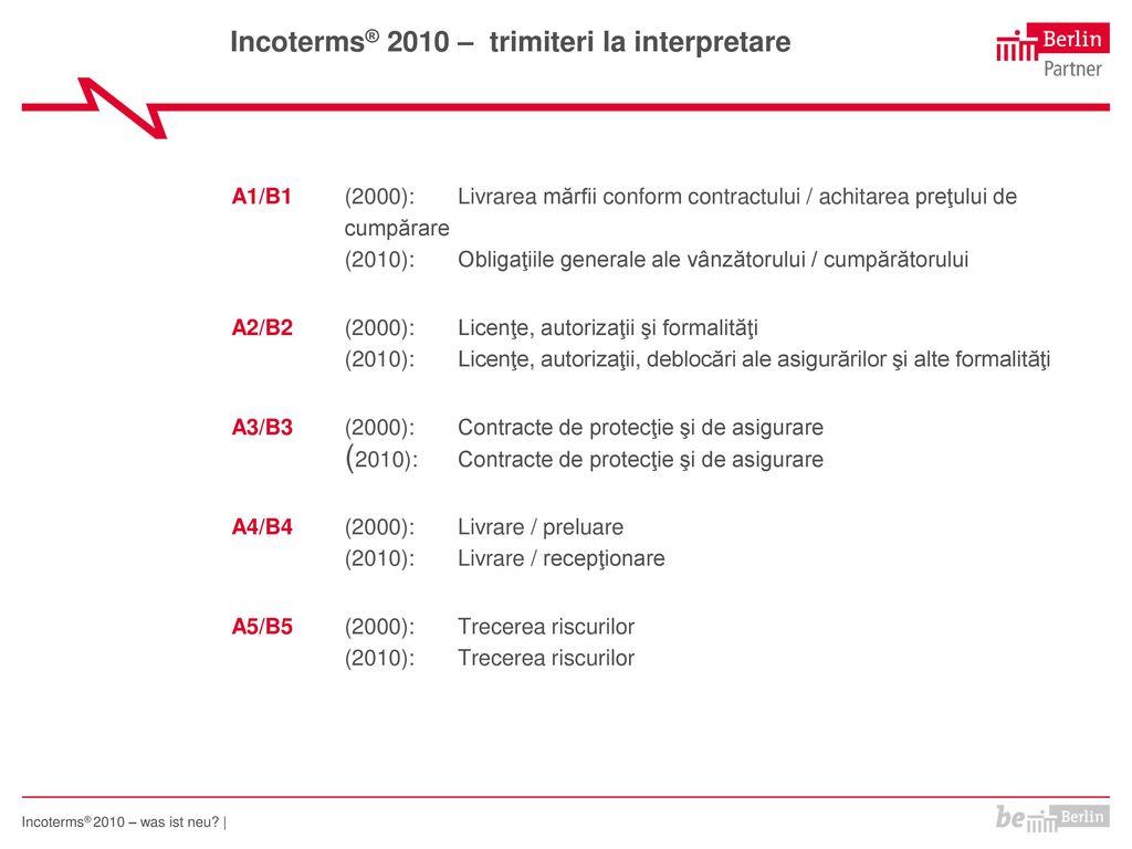 Incoterms® 2010 – trimiteri la interpretare