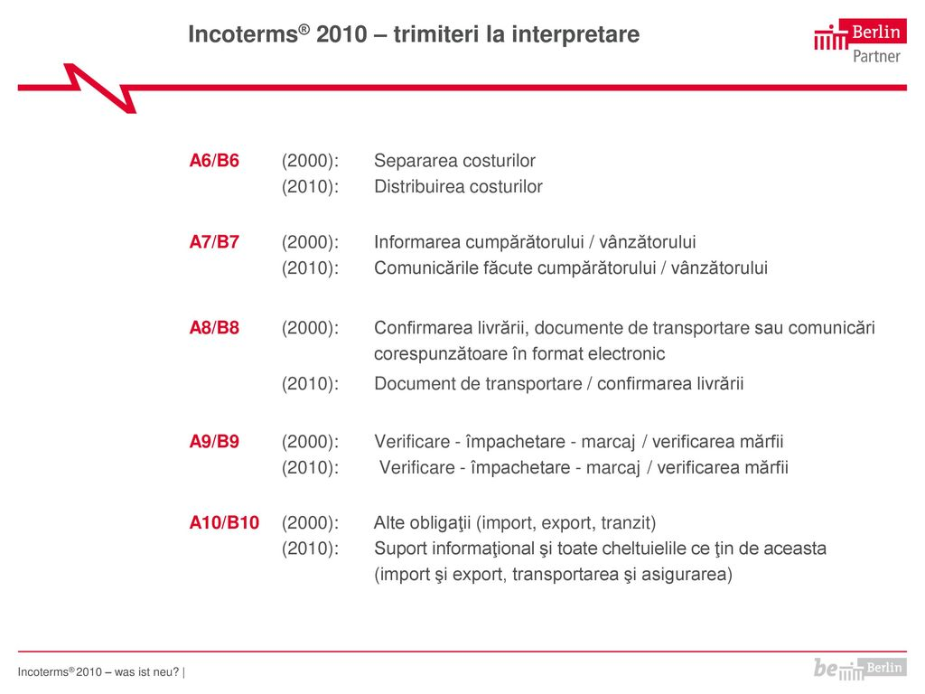 Incoterms® 2010 – trimiteri la interpretare
