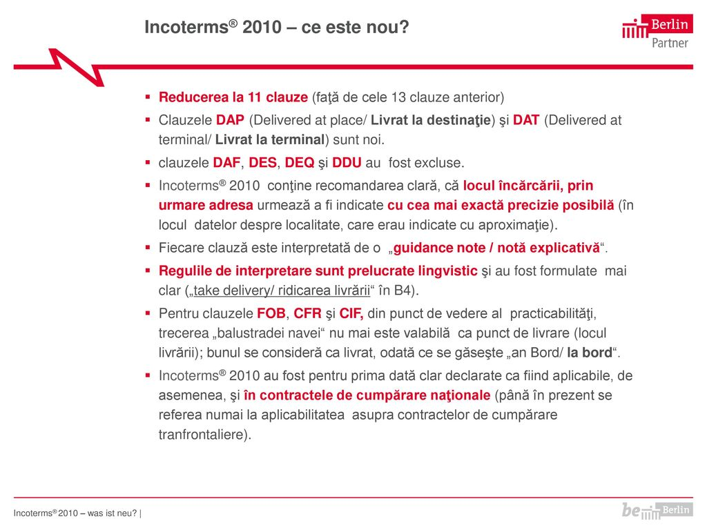 Incoterms® 2010 – ce este nou