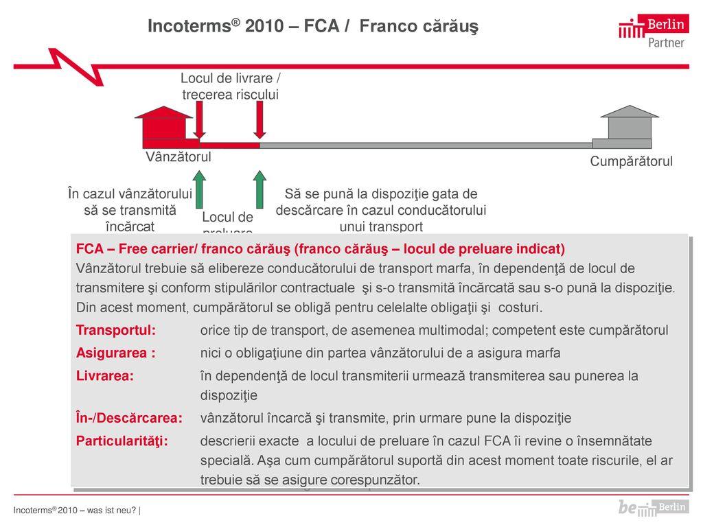 Incoterms® 2010 – FCA / Franco cărăuş