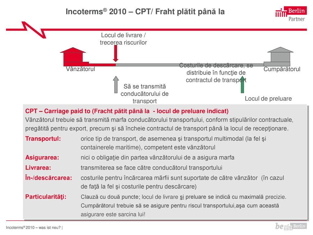 Incoterms® 2010 – CPT/ Fraht plătit până la