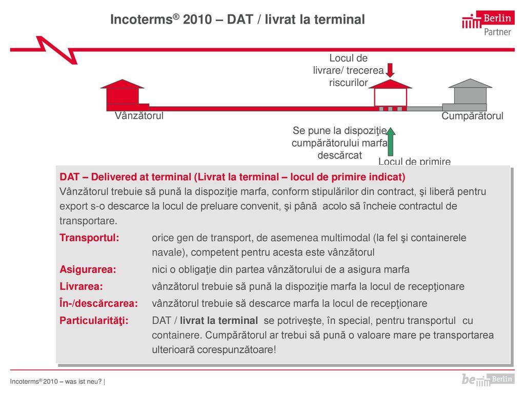 Incoterms® 2010 – DAT / livrat la terminal