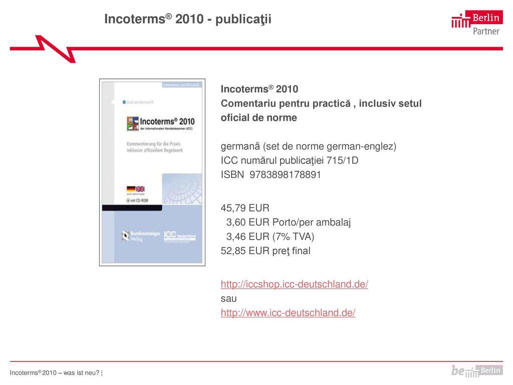 Incoterms® 2010 - publicaţii
