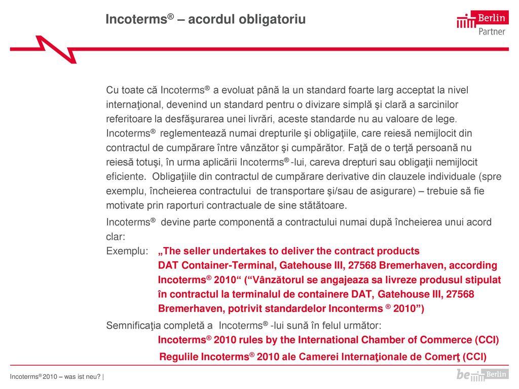 Incoterms® – acordul obligatoriu