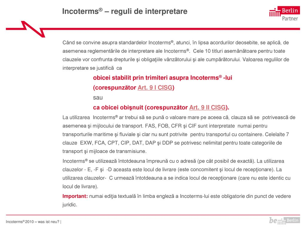 Incoterms® – reguli de interpretare