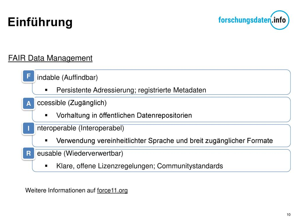 Einführung FAIR Data Management indable (Auffindbar)