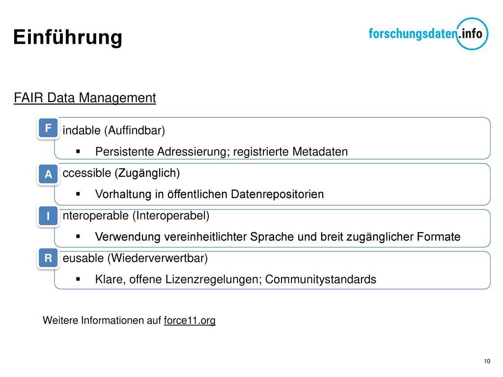 Einführung FAIR Data Management indable (Auffindbar)