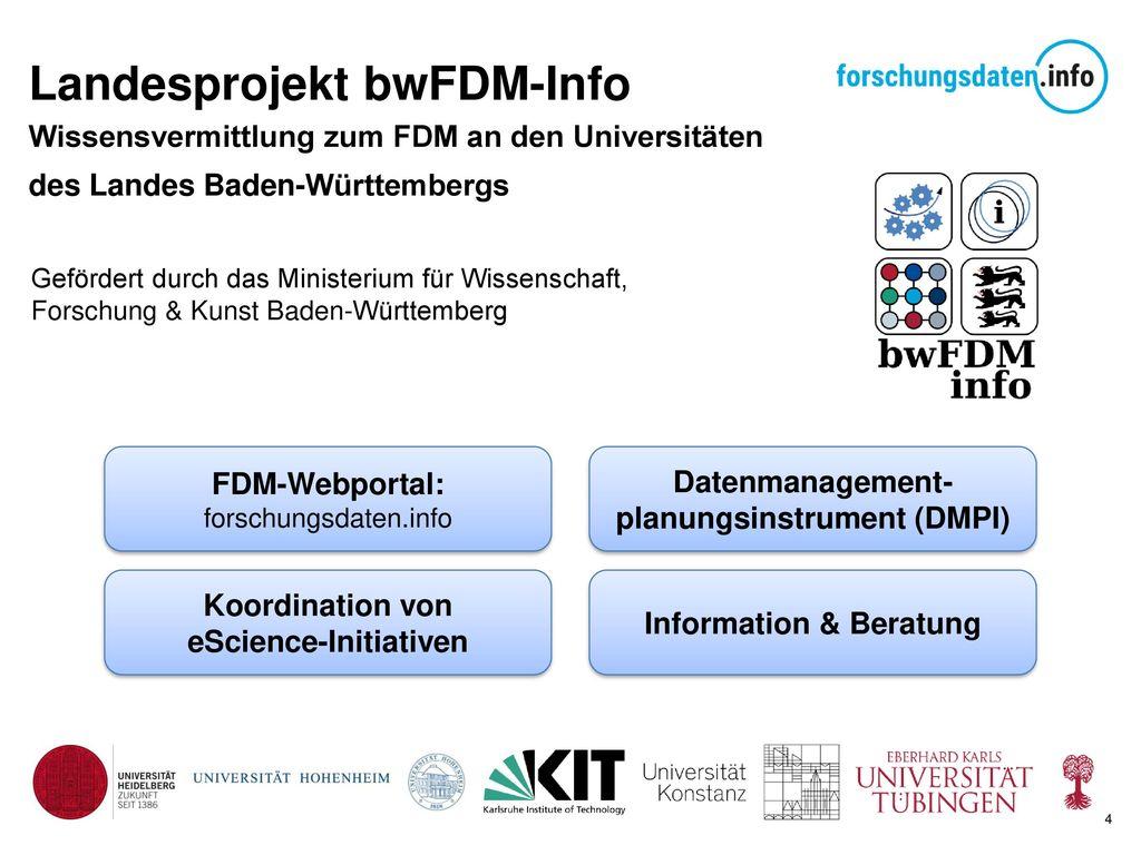 Landesprojekt bwFDM-Info Wissensvermittlung zum FDM an den Universitäten des Landes Baden-Württembergs