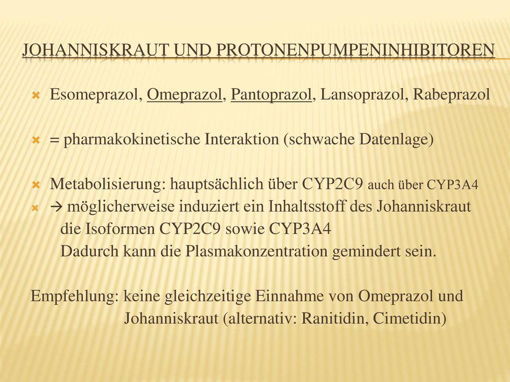 Johanniskraut und Protonenpumpeninhibitoren