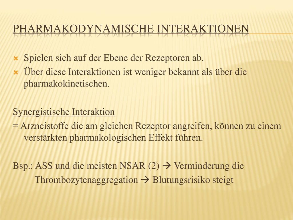 Pharmakodynamische Interaktionen