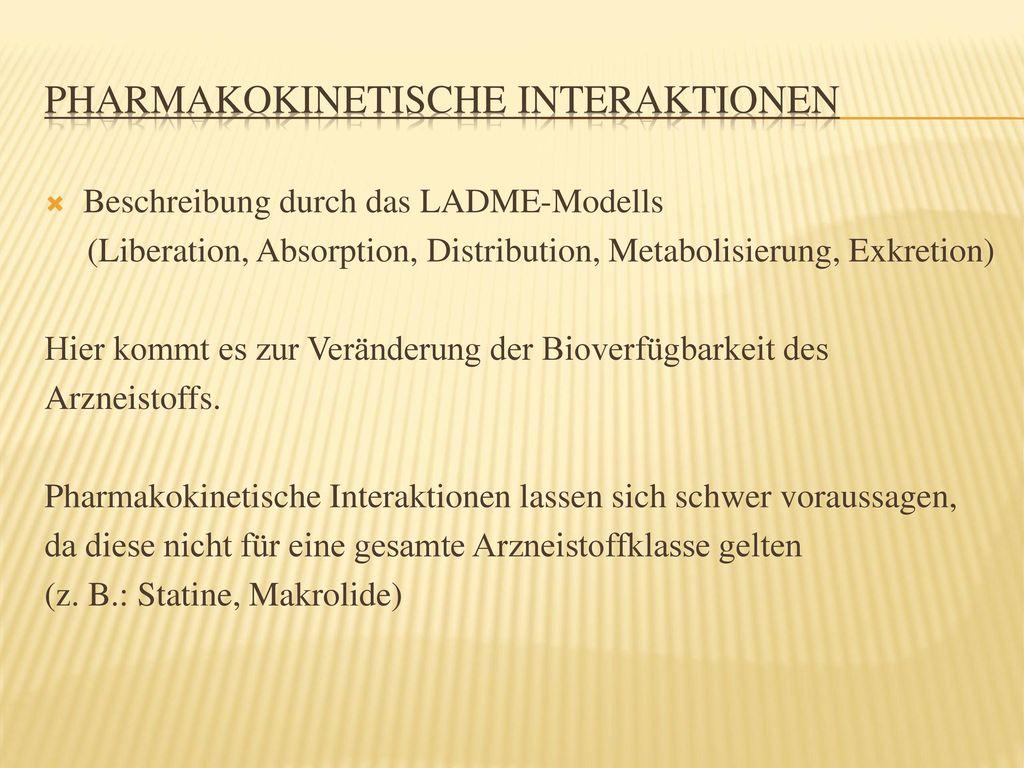 Pharmakokinetische Interaktionen