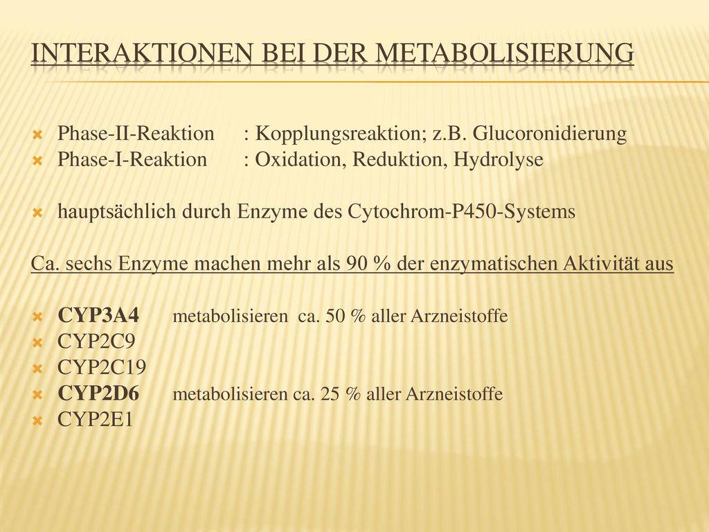 Interaktionen bei der Metabolisierung
