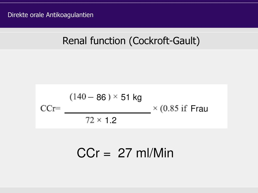 Die empfohlene Dosis von Apixaban ist 5 mg, 2 x täglich