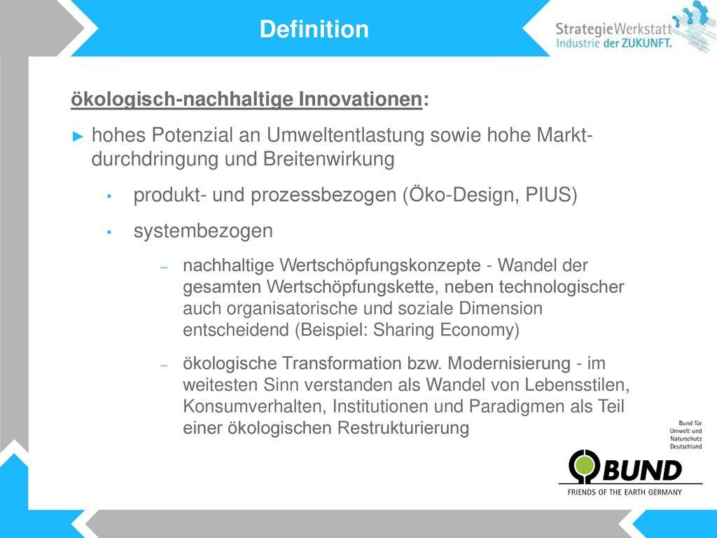 Definition ökologisch-nachhaltige Innovationen: