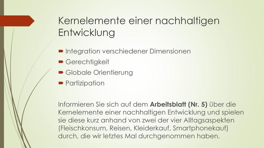 Kernelemente einer nachhaltigen Entwicklung