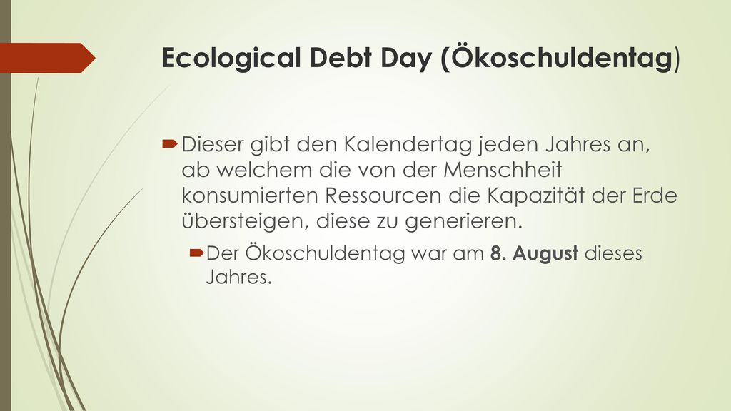 Ecological Debt Day (Ökoschuldentag)
