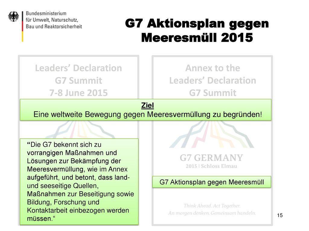 G7 Aktionsplan gegen Meeresmüll 2015