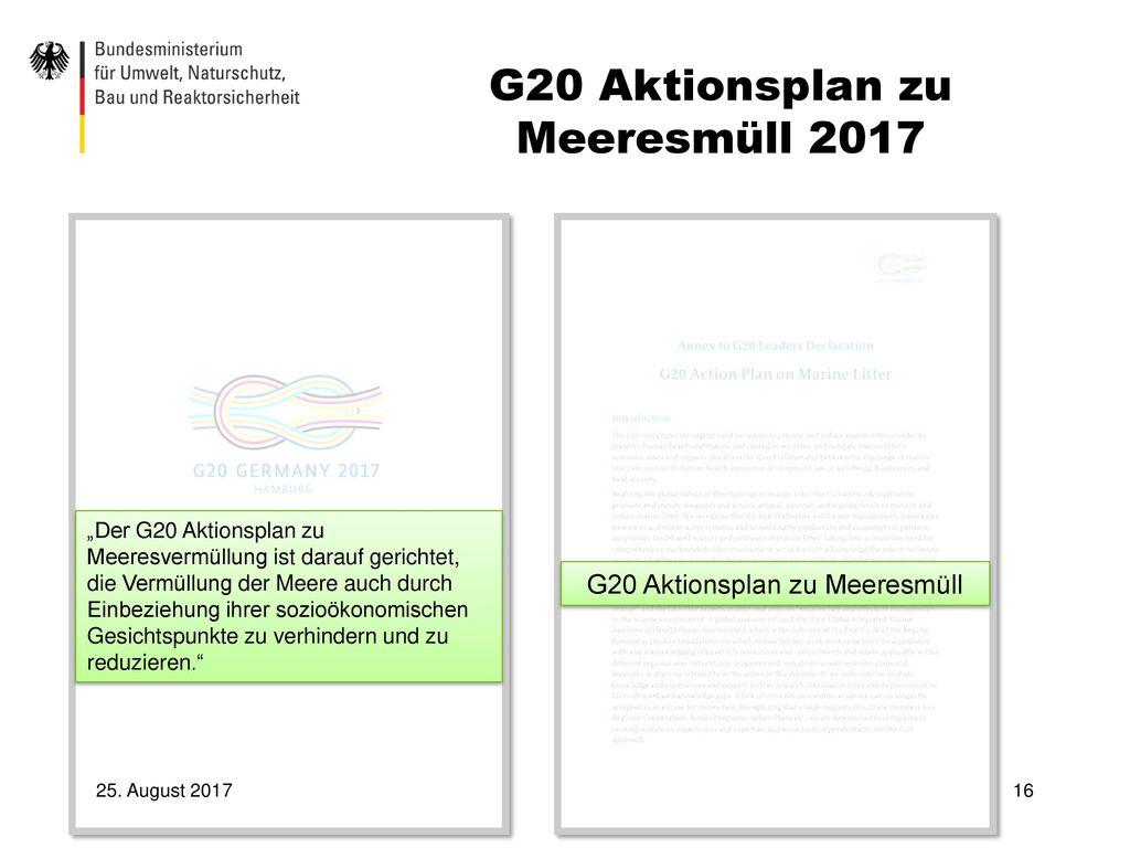 G20 Aktionsplan zu Meeresmüll 2017