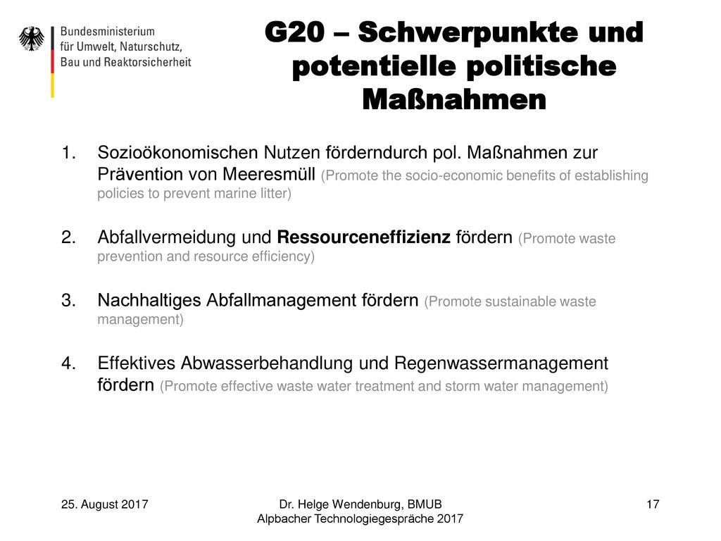 G20 – Schwerpunkte und potentielle politische Maßnahmen