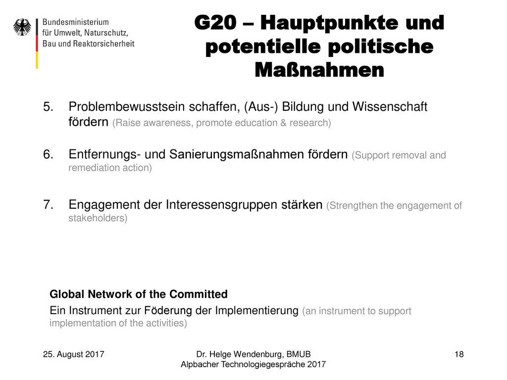 G20 – Hauptpunkte und potentielle politische Maßnahmen