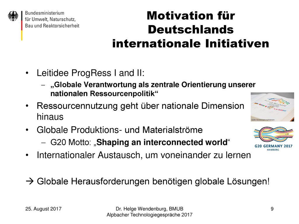 Motivation für Deutschlands internationale Initiativen