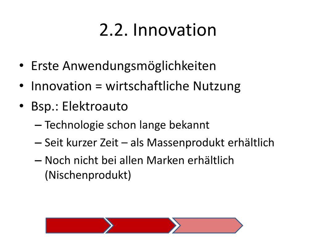 2.2. Innovation Erste Anwendungsmöglichkeiten