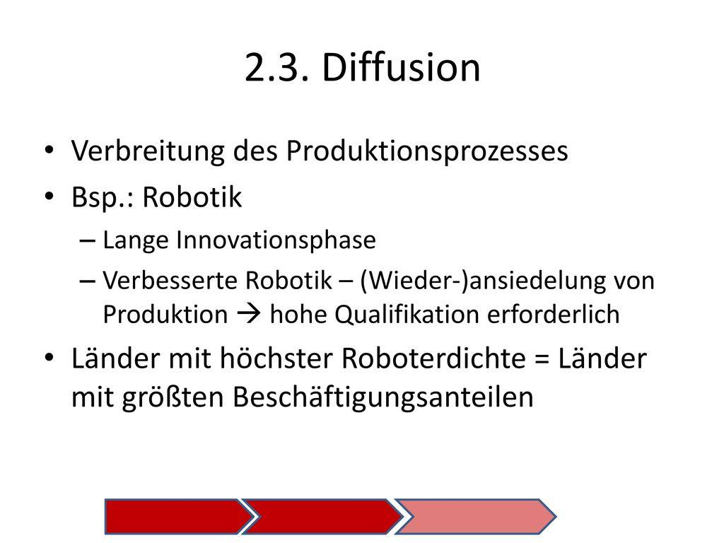 2.3. Diffusion Verbreitung des Produktionsprozesses Bsp.: Robotik