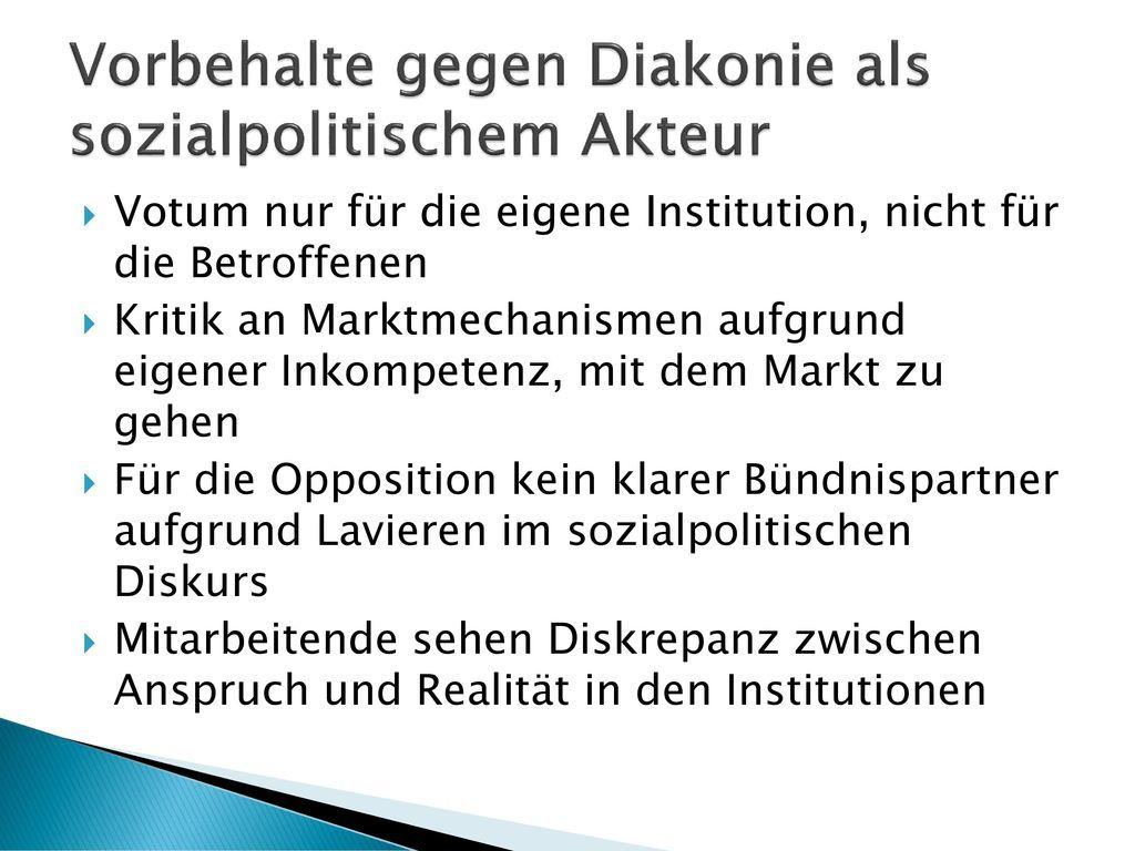 Vorbehalte gegen Diakonie als sozialpolitischem Akteur