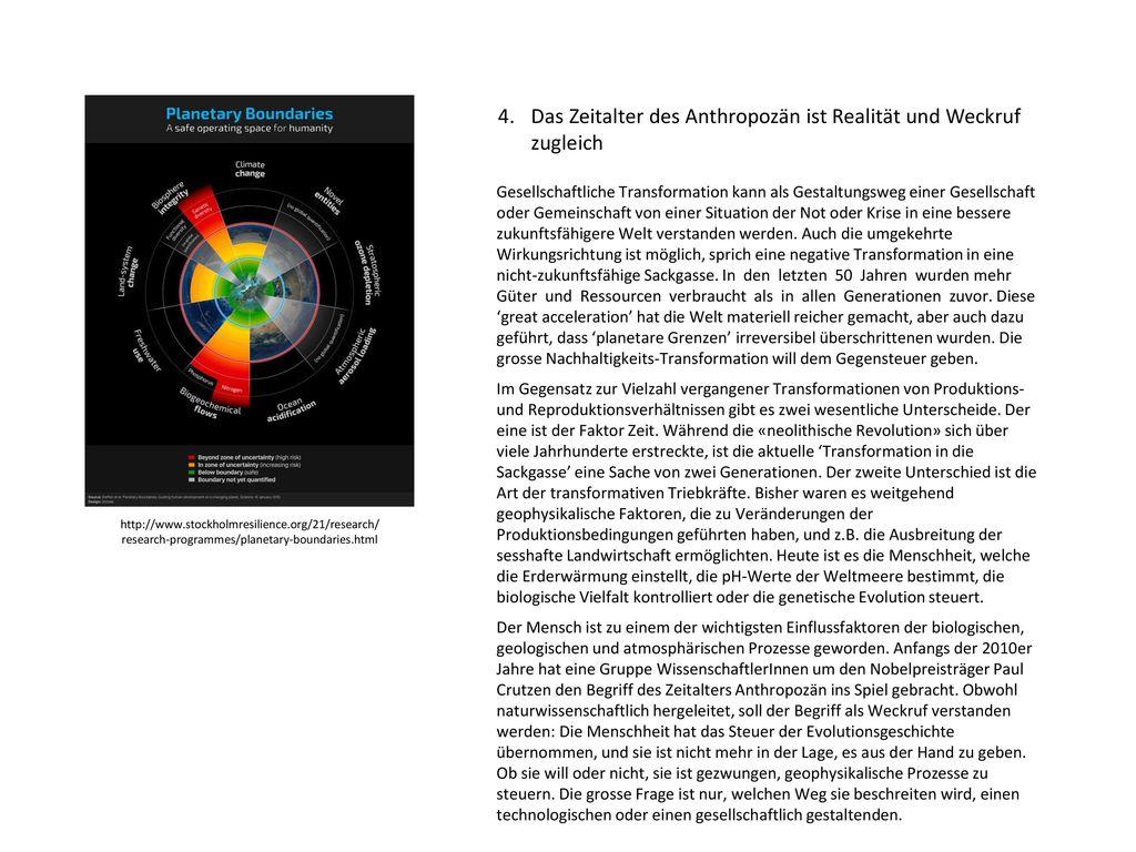 4. Das Zeitalter des Anthropozän ist Realität und Weckruf zugleich