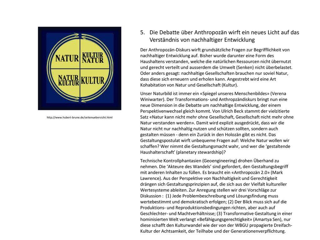 5. Die Debatte über Anthropozän wirft ein neues Licht auf das Verständnis von nachhaltiger Entwicklung