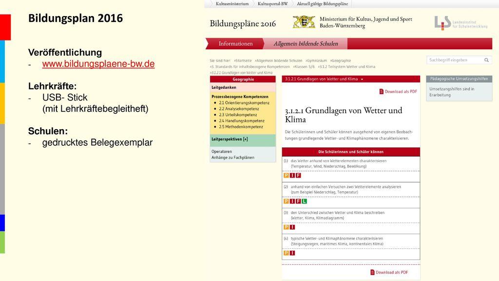 Bildungsplan 2016 Veröffentlichung www.bildungsplaene-bw.de