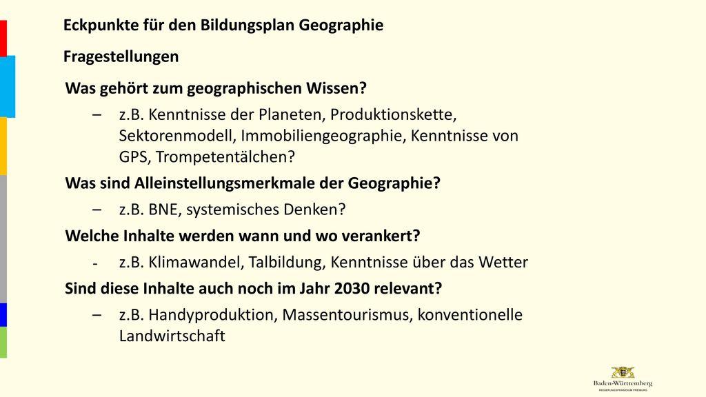 Eckpunkte für den Bildungsplan Geographie