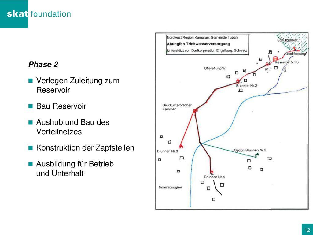 Phase 2 Verlegen Zuleitung zum Reservoir. Bau Reservoir. Aushub und Bau des Verteilnetzes. Konstruktion der Zapfstellen.