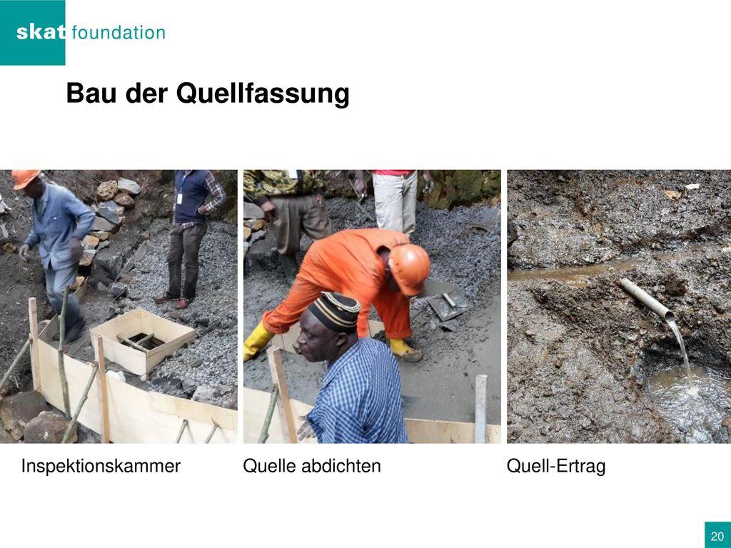 Bau der Quellfassung Inspektionskammer Quelle abdichten Quell-Ertrag