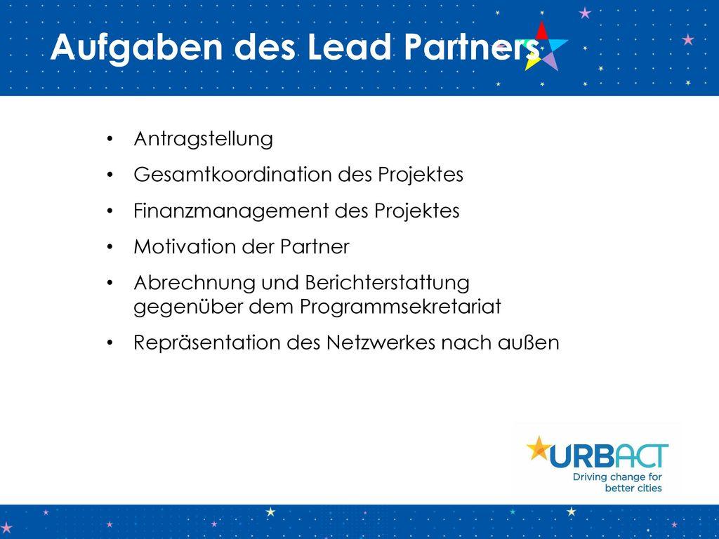 Aufgaben des Lead Partners
