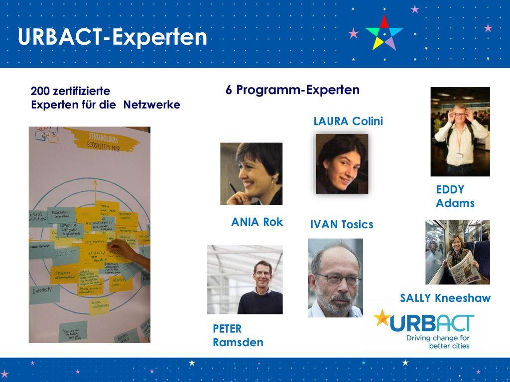 URBACT-Experten 6 Programm-Experten 200 zertifizierte
