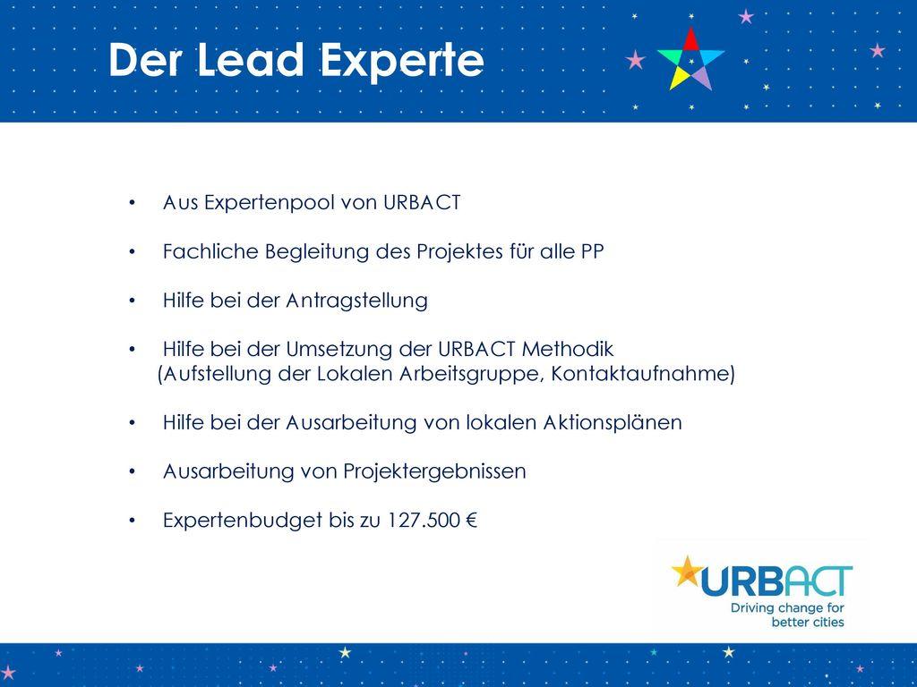 Der Lead Experte Aus Expertenpool von URBACT