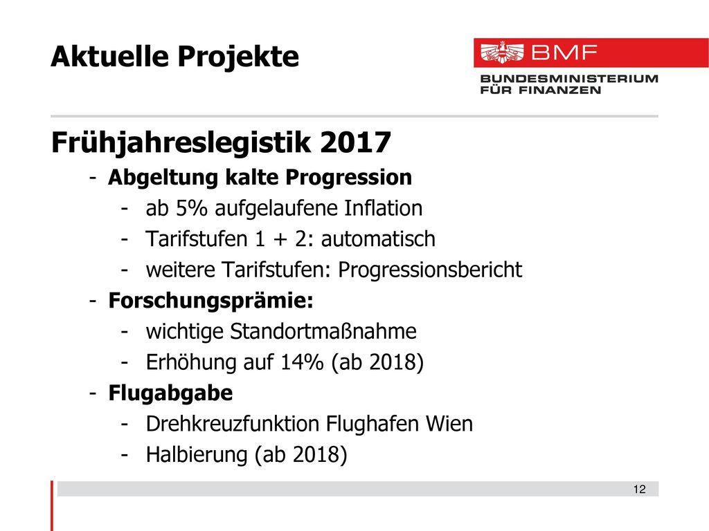 Aktuelle Projekte Frühjahreslegistik 2017 Abgeltung kalte Progression