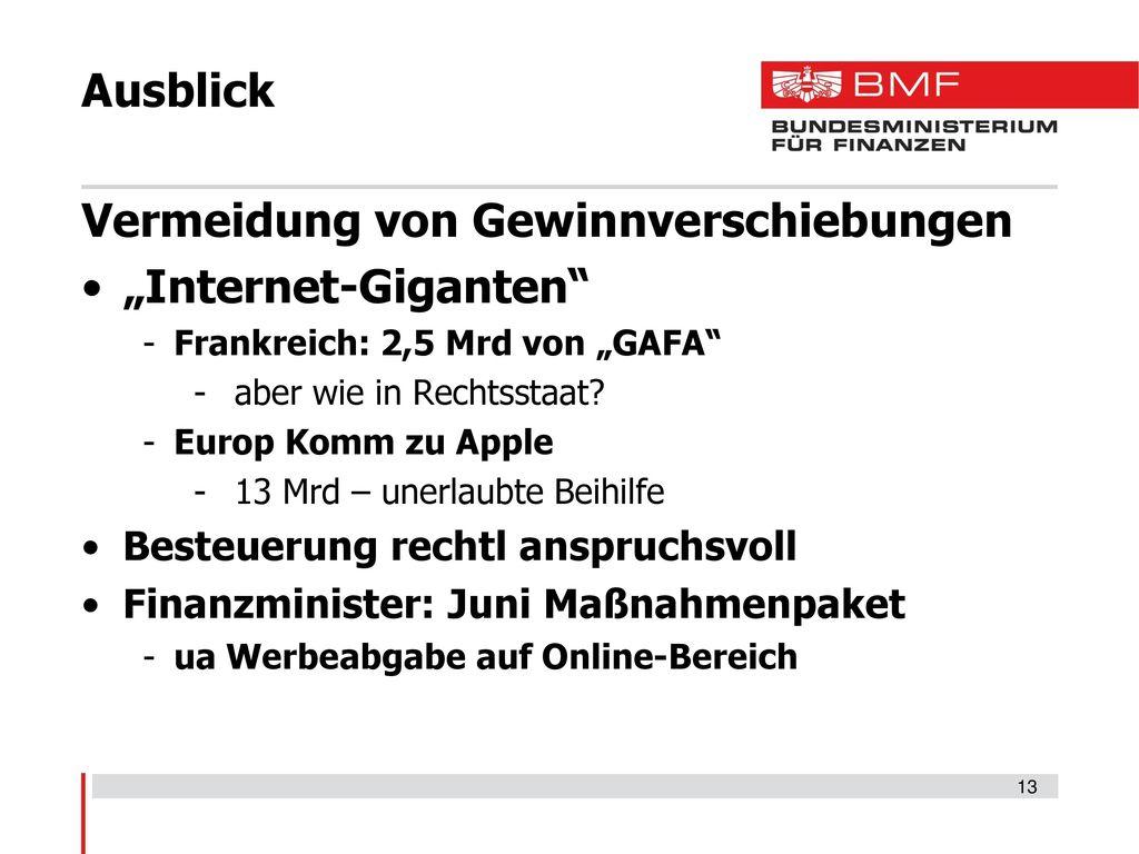 """Vermeidung von Gewinnverschiebungen """"Internet-Giganten"""