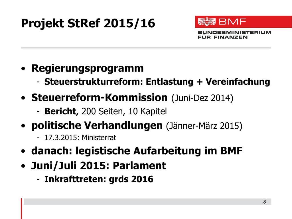 Projekt StRef 2015/16 Regierungsprogramm