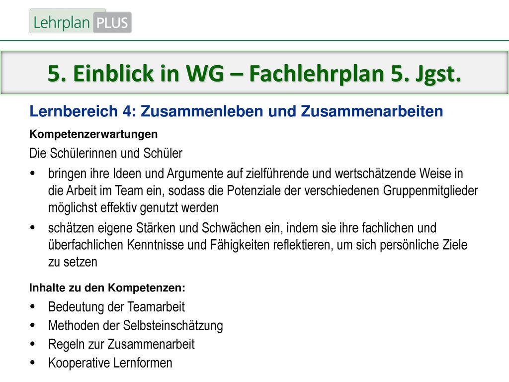 5. Einblick in WG – Fachlehrplan 5. Jgst.