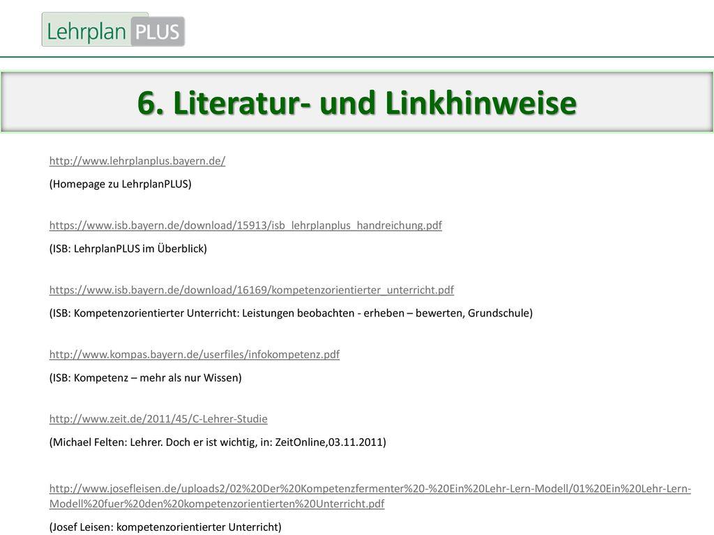 6. Literatur- und Linkhinweise